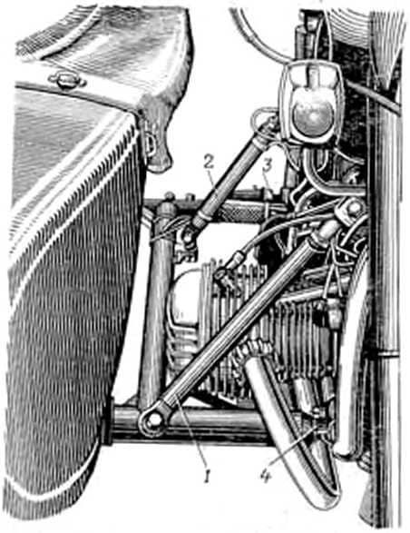 1 - передняя регулируемая тяга; 2 - средняя регулируемая тяга крепления; 3 - задний цанковый зажим; 4 - передний цанговый зажим