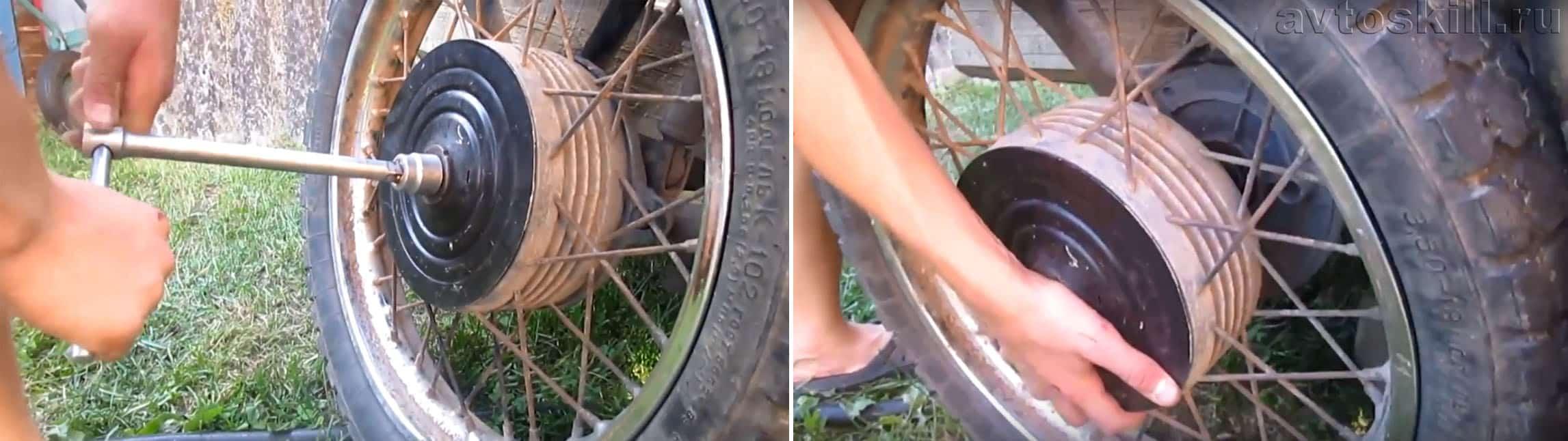 Снятие колеса коляски мотоцикла ИЖ