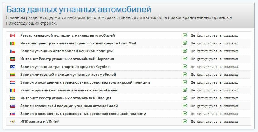Пример проверки VIN-номера чистого автомобиля по базам данных угнанных машин