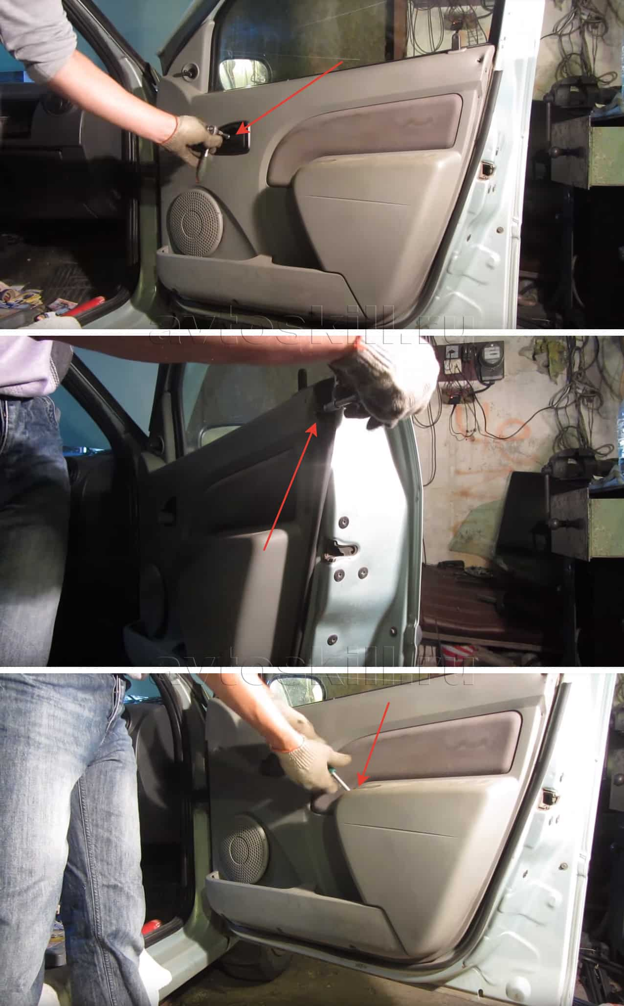 Какснять обшивку передней двери на Рено Логан
